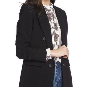 1.State Ruched Sleeve Button Jacket Long Blazer